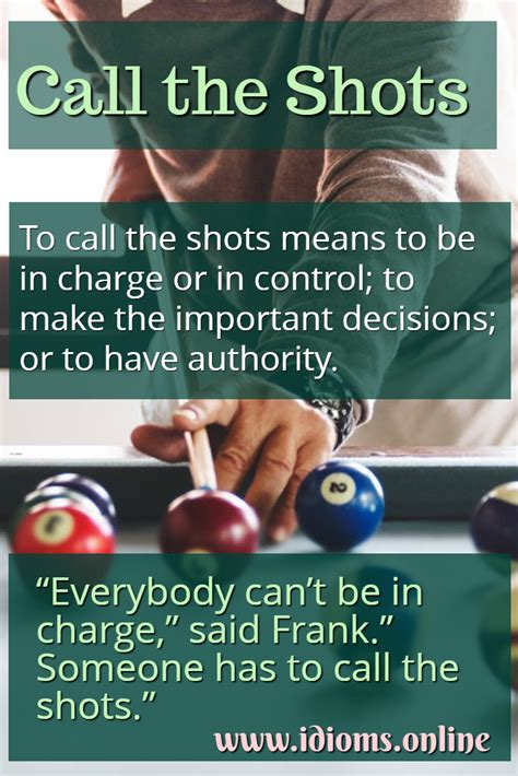 Call the Shots | Idioms Online