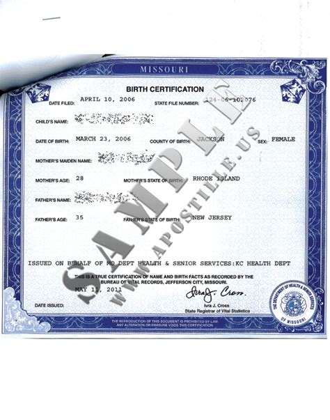 Authentications of Documents - State Missouri