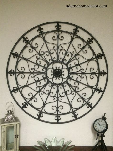 Large Round Wrought Iron Wall DECOR Rustic Scroll Fleur De