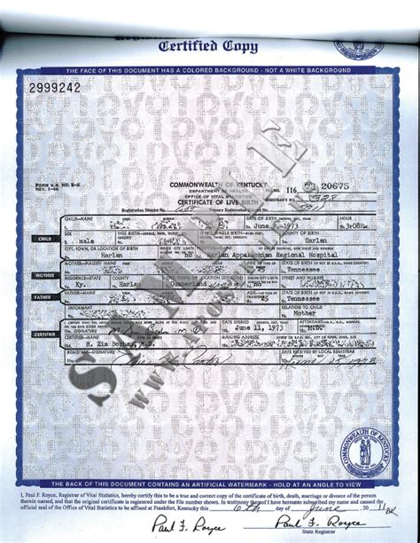 Authentications of Documents - State Kentucky