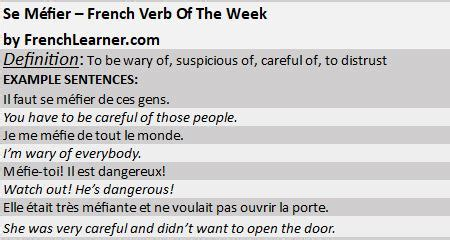 Se Méfier - French Verb Of The Week