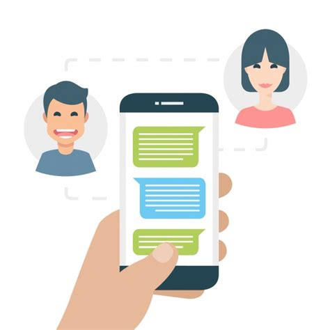 Two people texting on the phone Vector | Free Download