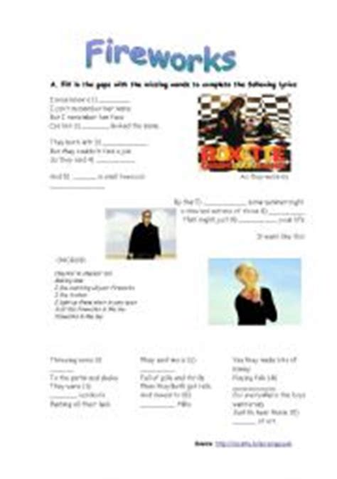 """English worksheets: Song """"Fireworks"""" - Roxette"""